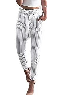 Printemps Eté Elégante Mode Trousers Rayures Verticales avec Poches avec  Ceinture Taille Élastique Taille Haute Office b0a9df620c5c
