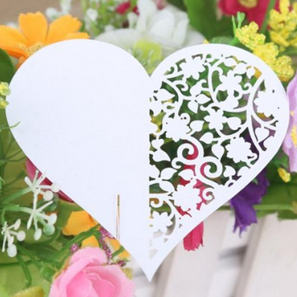 50pcs Wedding Party Table Name Place Cards Favor Decor Love Heart White by Yodosun (Image #1)