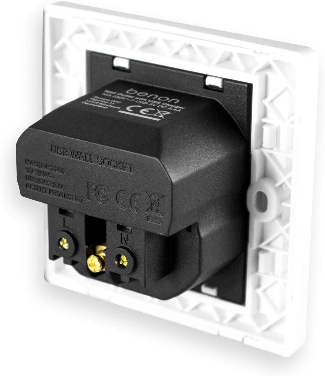 - Schukosteckdose max Unterputz USB-Steckdose mit /Überlastschutz und Kindersicherung 3680W Wei/ß 5V benon 2x Wand-Steckdose mit USB Anschluss im Set 2.4A USB