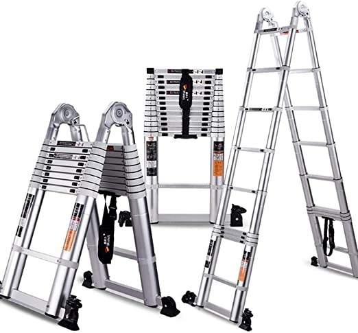 ZAIHW Escalera de Aluminio Extensión telescópica, Portátil Heavy Duty Multiuso Plegable de Aluminio telescópica Escalera, for la Seguridad del Loft 330 Libras de Capacidad (Size : 1.9+1.9m): Amazon.es: Hogar