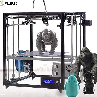 FLSUN impresora 3d kit de bricolaje Square Full Metal auto nivelación tamaño de impresión 260X260X350 con auto nivel calentado cama precisión