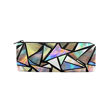 466ed1df47af Amazon.com: ALLDET Iridescent Triangles Cylinder Women Cosmetic Bag ...