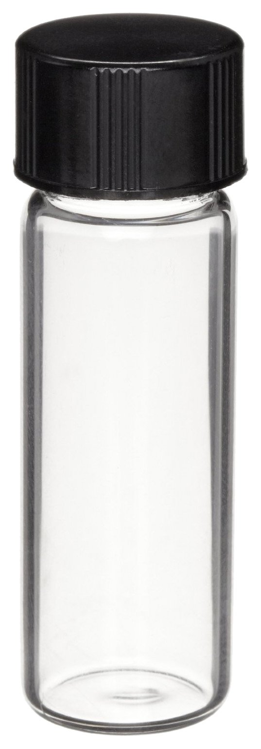 Wheaton 224982 Borosilicate Glass 4mL Vial in Lab File, with 13-425 Solid Black Phenolic 14B Rubber Lined Cap Attached, Amber (144 Vials per Lab File) by Wheaton (Image #1)