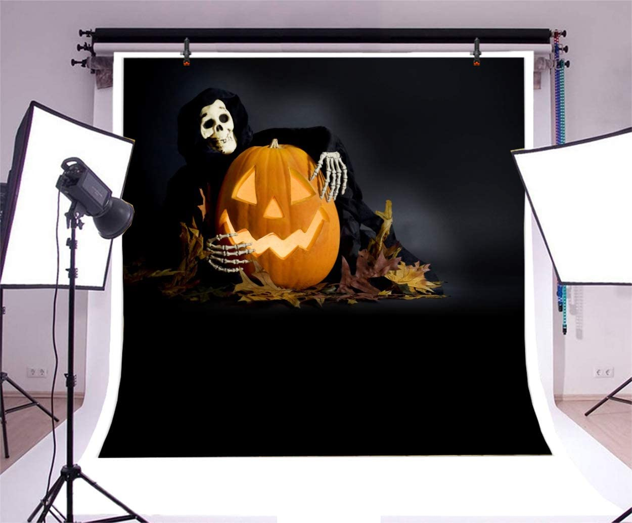 Yeele Halloween Backdrop for Photography Skeleton Holding The Creepy Pumpkin Lamps Background Kids Adult Artistic Portrait 10x10ft Kid Halloween Party Carnival Photoshoot Prop Photo Booth Wallpaper