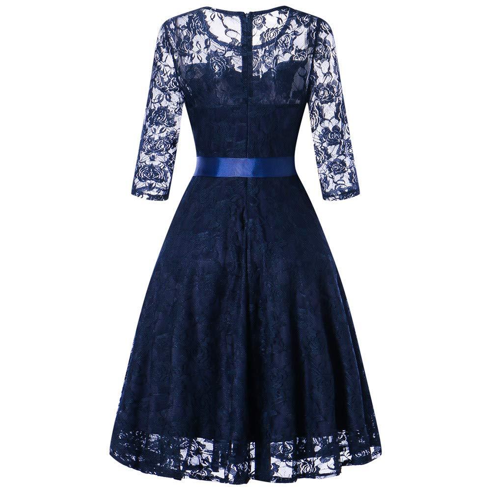 JESPER Womens Long Sleeve Formal Ladies Wedding Bridesmaid Lace Long Dress US 8/10 Blue by JESPER (Image #2)