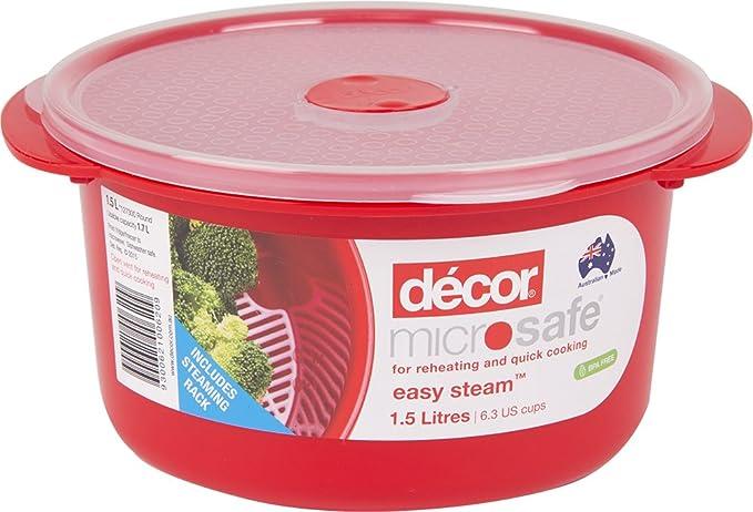 Décor - Recipiente redondo para horno microondas y microondas, con ...
