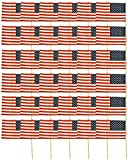 Set of 36 American Flags on Sticks! 12''x7'' Flag -15.75'' Stick-Outdoor or Indoor! Patriotic American Flags Perfect for Lining Driveways, Porches, July 4th, Parties, and Around the House Decorations!