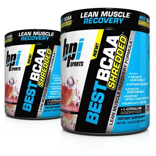 BPI Sports Best BCAA Shredded (2 Pack) Caffeine Free Thermogenic Recovery Formula for Lean Muscle Growth (25 Servings) (Watermelon)