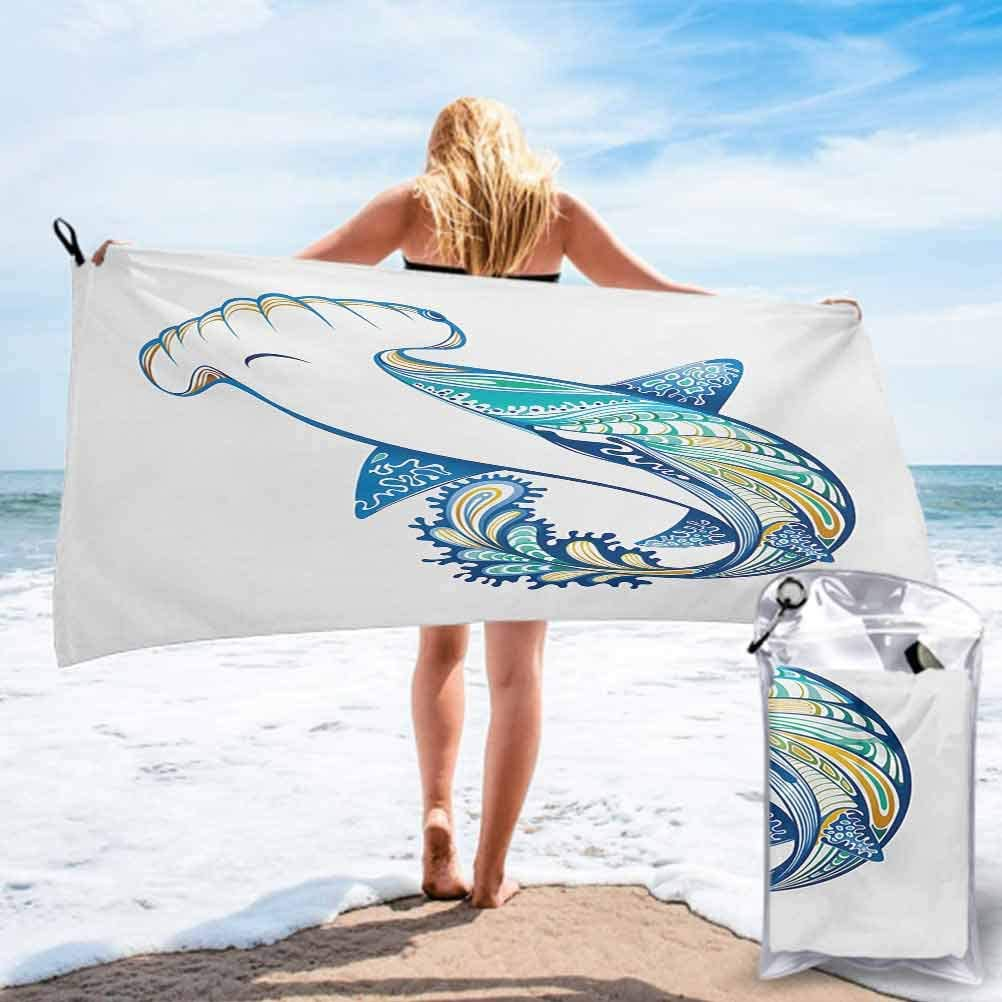 Super Absorbent Quick Fast Drying Soft Eco-Friendly Towels, Hammer Head Shark Ornate Underwater Sea Oceanic Life Animals Marine Theme 2.6'x 5.25' Microfiber Sports Swim Pool Lightweight Blanket