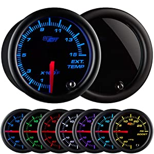"""GlowShift Tinted 7 Color 1500 F Pyrometer Exhaust Gas Temperature EGT Gauge Kit - Includes Type K Probe - Black Dial - Smoked Lens - for Diesel Trucks - 2-1/16"""" 52mm"""