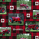 FARMALL TRACTOR PLAID ALLOVER COTTON FABRIC-INTERNATIONAL HARVESTER FARMALL TRACTOR COTTON FABRIC SOLD BY THE YARD
