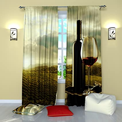 Amazon.com: Landscape Curtains by Factory4me Wine bottle ...