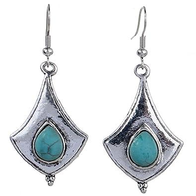 Yazilind Jewelry Amazing Tibetan Silver Green Waterdrop Rimous Turquoise Dangle Earrings for Women fXoQnlm