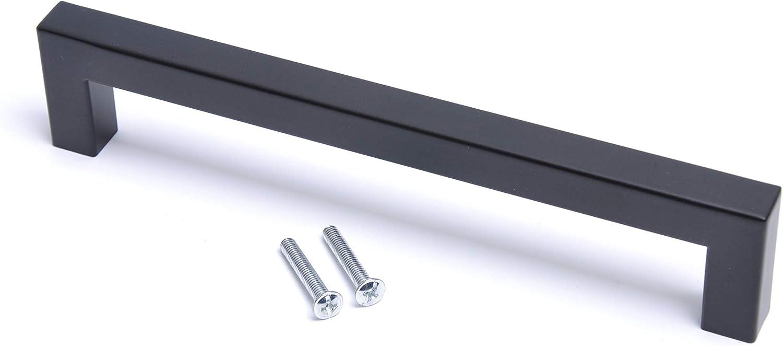 T/ürgriff mattes Finish Schublade Schwarzer quadratischer moderner T/ürgriff f/ür K/üchenschrank 128mm Bar