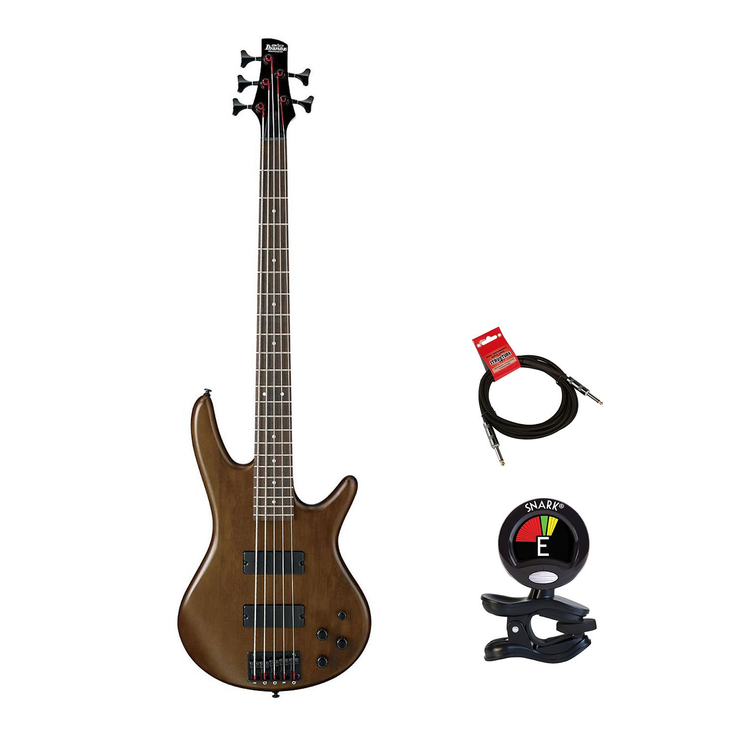IBANEZ GSR205BWNF 5 String Electric Bass Guitar with Clip On Guitar Tuner and Guitar Cable