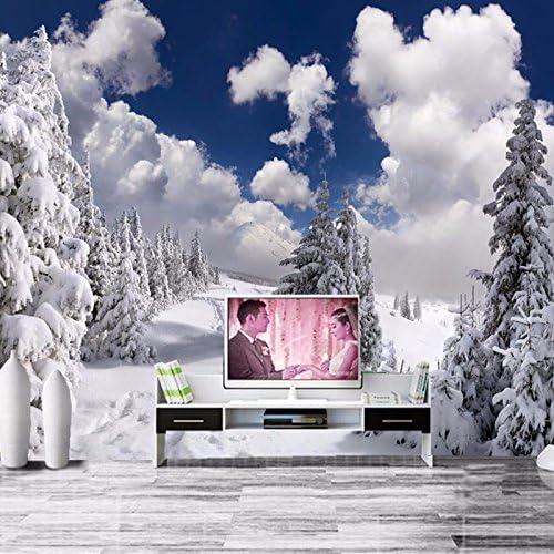 Fondos de pantalla de pared personalizados para sala de estar Sofá TV Fondo Decoración para el hogar Papel pintado Invierno Nieve Hermosa Pintura de pared grande-400X280CM: Amazon.es: Bricolaje y herramientas