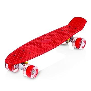 Enkeeo - Monopatin Skateboards Retro Crucero (22 pulgadas, 4 PU ruedas traslúcidas, tabla de plástico reforzado, rodamiento ABEC-7)