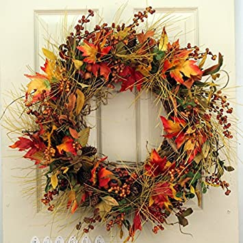 Maple Berry Front Door Fall Wreath 22 In