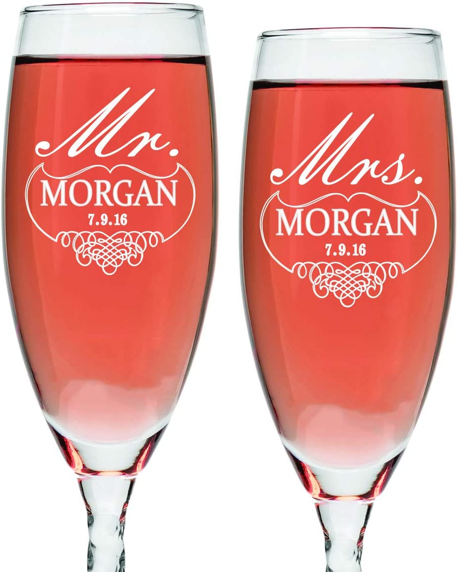 Amazon Com Set Of 2 Personalized Wedding Champagne Flutes For