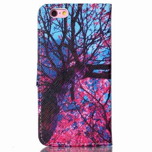 jbTec® Flip Case Handy-Hülle zu Apple iPhone 6 Plus / 6s Plus - BOOK Baum Blau & Pink B73 - Handy-Tasche, Schutz-Hülle, Cover, Handyhülle, Bookstyle, Booklet
