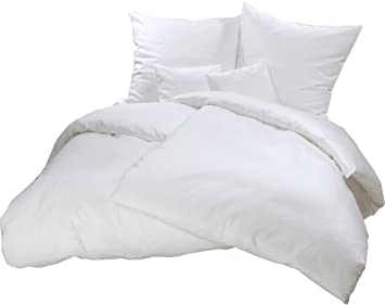 Carpe Sonno Kuschelige Biber Bettwäsche 155 X 220 Cm Einfarbig Weiße
