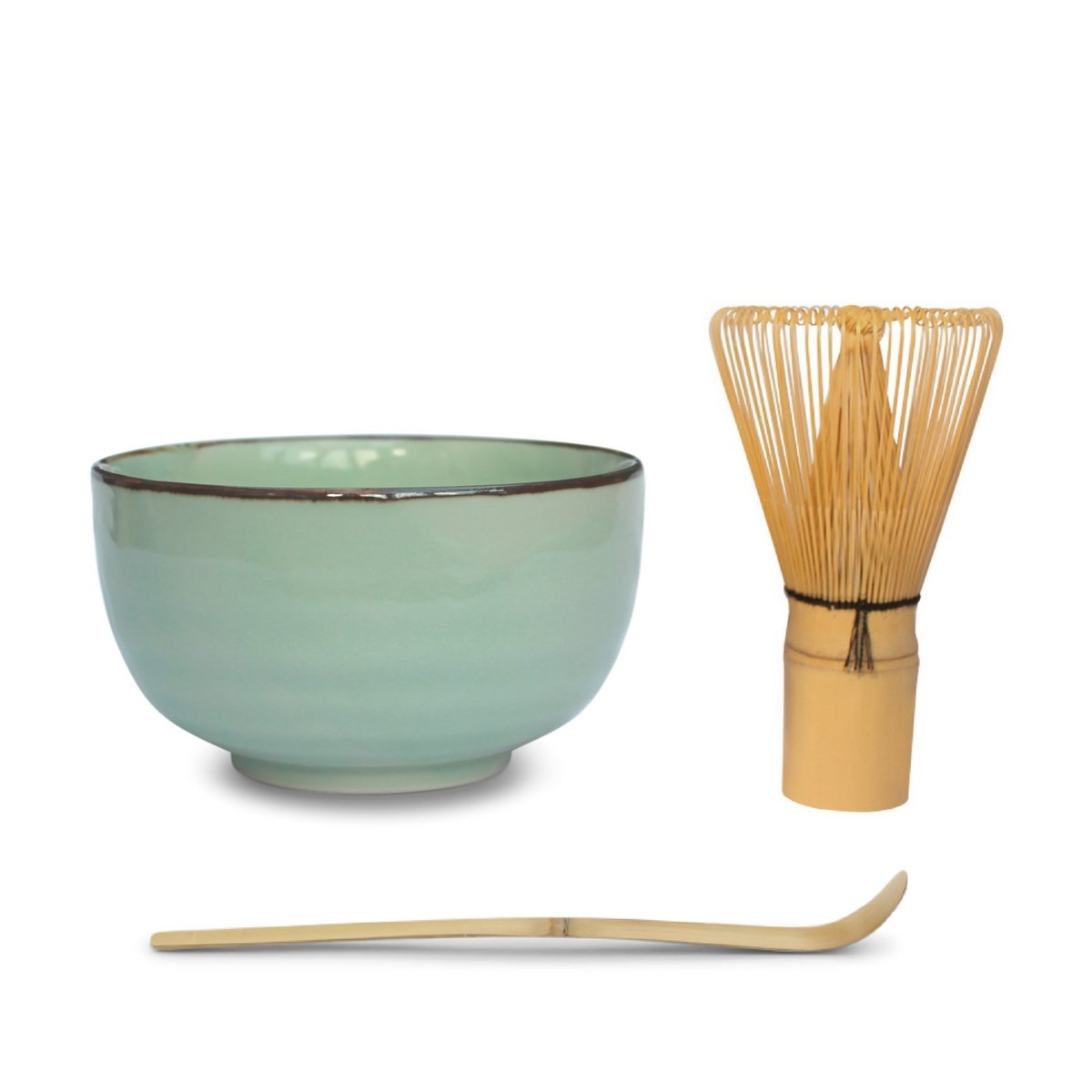 Matcha Bowl Tea Set (3 Piece) - Includes Matcha Bowl (Mint Green), Bamboo Matcha Whisk And Bamboo Matcha Spoon Or Scoop - Perfect For the Japanese Matcha Tea Enthusiast Or As A Present TeaTerrifics