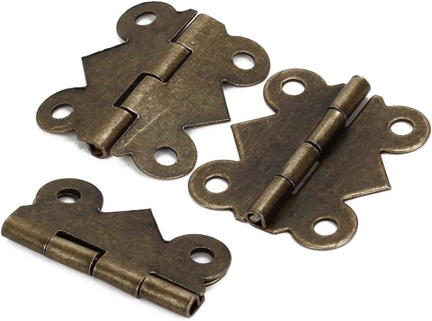 WINOMO – 20 mini bisagras mariposa de hierro color bronce, tamaño pequeño, para cajones de armario
