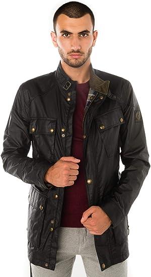 Belstaff - Chaqueta para hombre (algodón encerado), color negro Negro Negro (46: Amazon.es: Ropa y accesorios