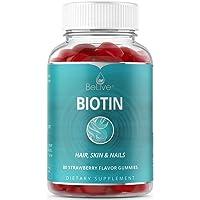 Biotin Gummies 10,000mcg Highest Potency for Hair Growth, Promotes Healthier Hair...