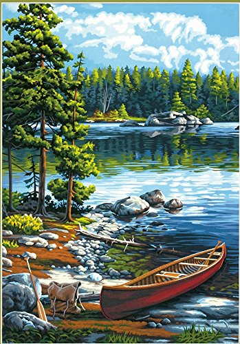 Amazon Dimensions Paintworks Paint By Number Kit Canoe By The Lake