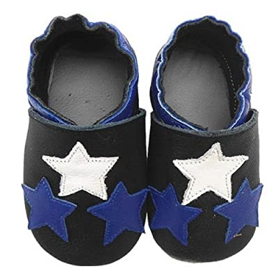 3 Stars Black Soft Sole Leather Baby Toddler Crib Shoes / Slippers (0-6 Months) 11.5cm Sole