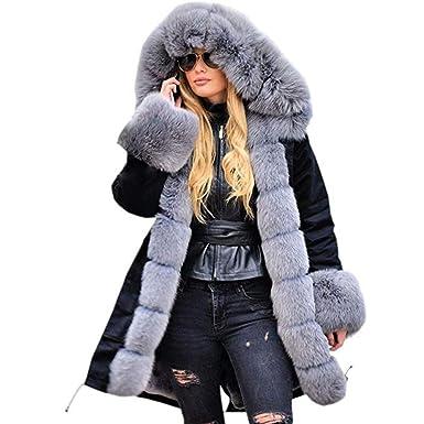 FRAUIT Damen Pelz Mantel Elegant Lang Warm Fellmantel Winter