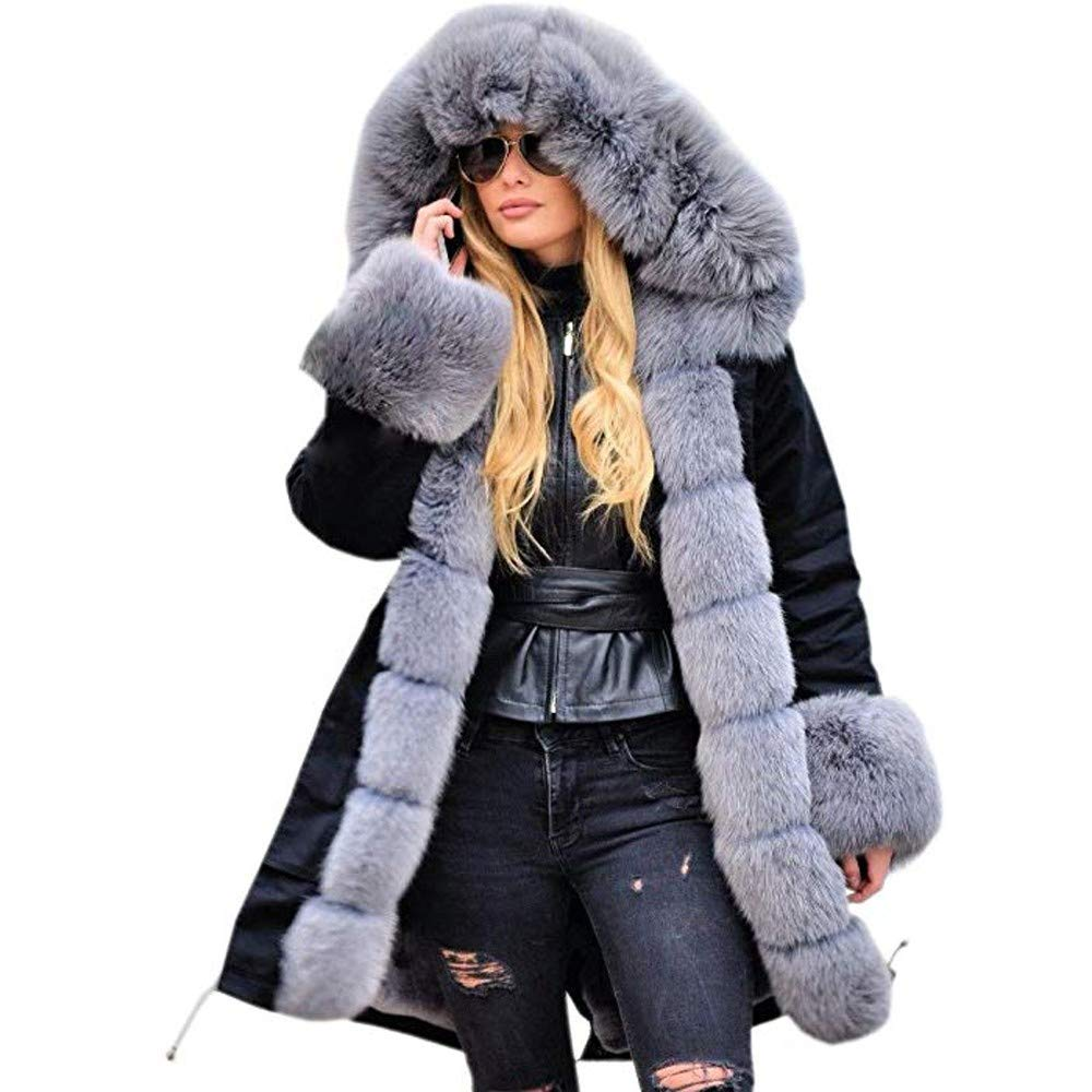JMETRIE Womens Jacket Winter Long Sleeves Faux Fur Winter Hooded Fishtail Overcoat Coat Parka