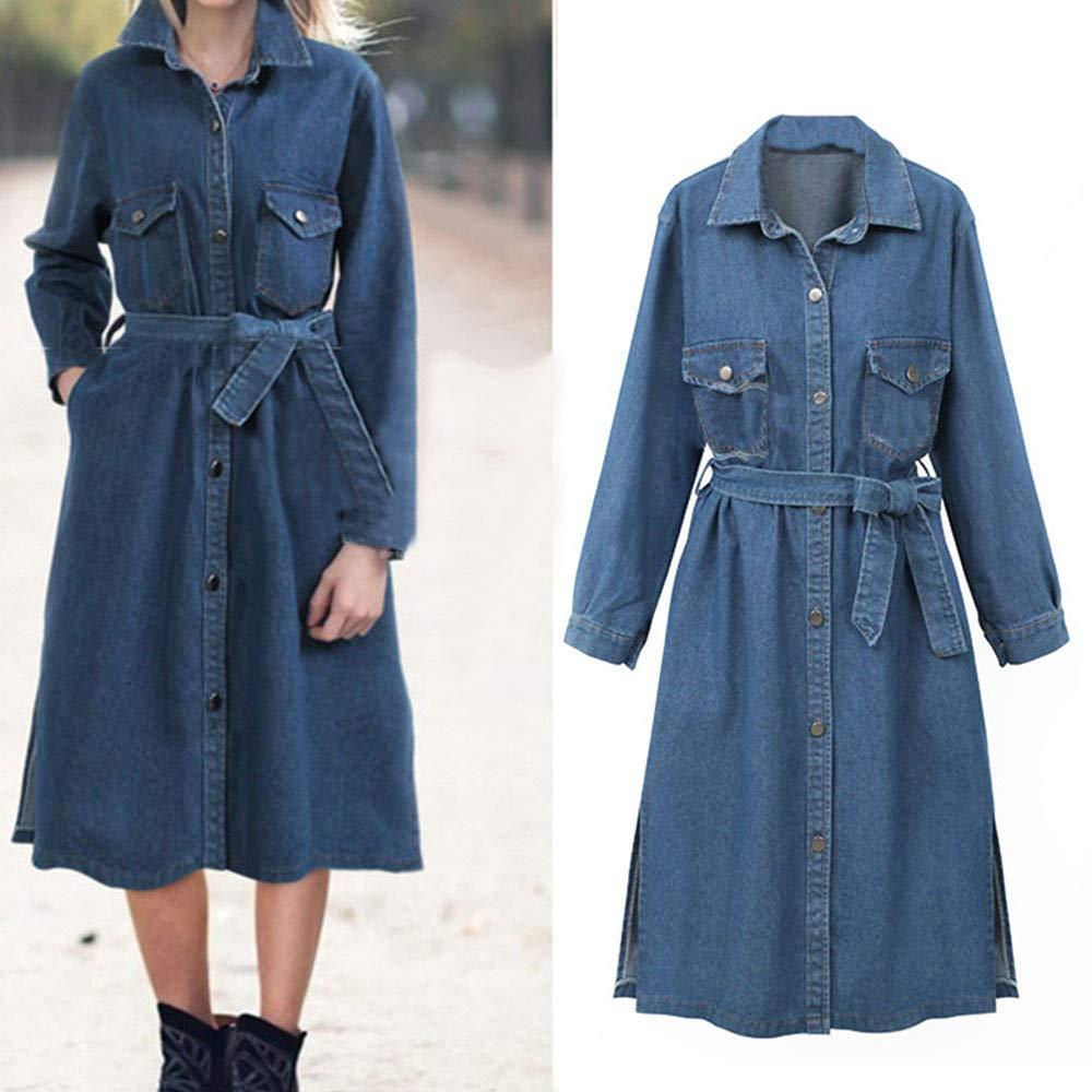 AOJIAN Women Jacket Long Sleeve Outwear Denim Belt Lapel Side Split Pocket Maxi Button Jean Coat