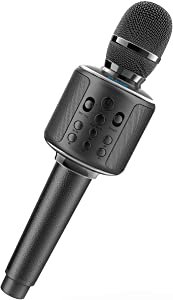 Bluetooth Karaoke Microphone, BLAVOR Wireless Microphone With Dual Sing, Best Christmas Birthday Gifts for Men Women Karaoke Machine for Kids Adults Portable Leather Rechargeable Handheld Mic