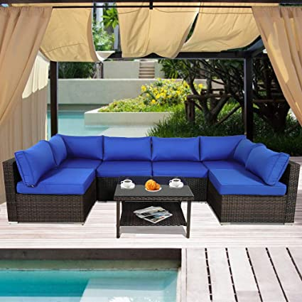 Patio Rattan Sofa 7-Piece Outdoor Wicker Furniture Outside Conversation  Couch Deck Seating Brown Rattan Royal Blue Cushion