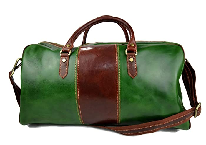 769dbc6806 Leather duffle bag genuine leather shoulder bag green - brown mens ladies  travel bag gym bag luggage made in Italy weekender duffle overnight bag  women s ...
