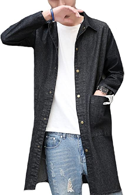 Winwinus Mens Office Denim Over Sized Washed Pocket Collar Shirt
