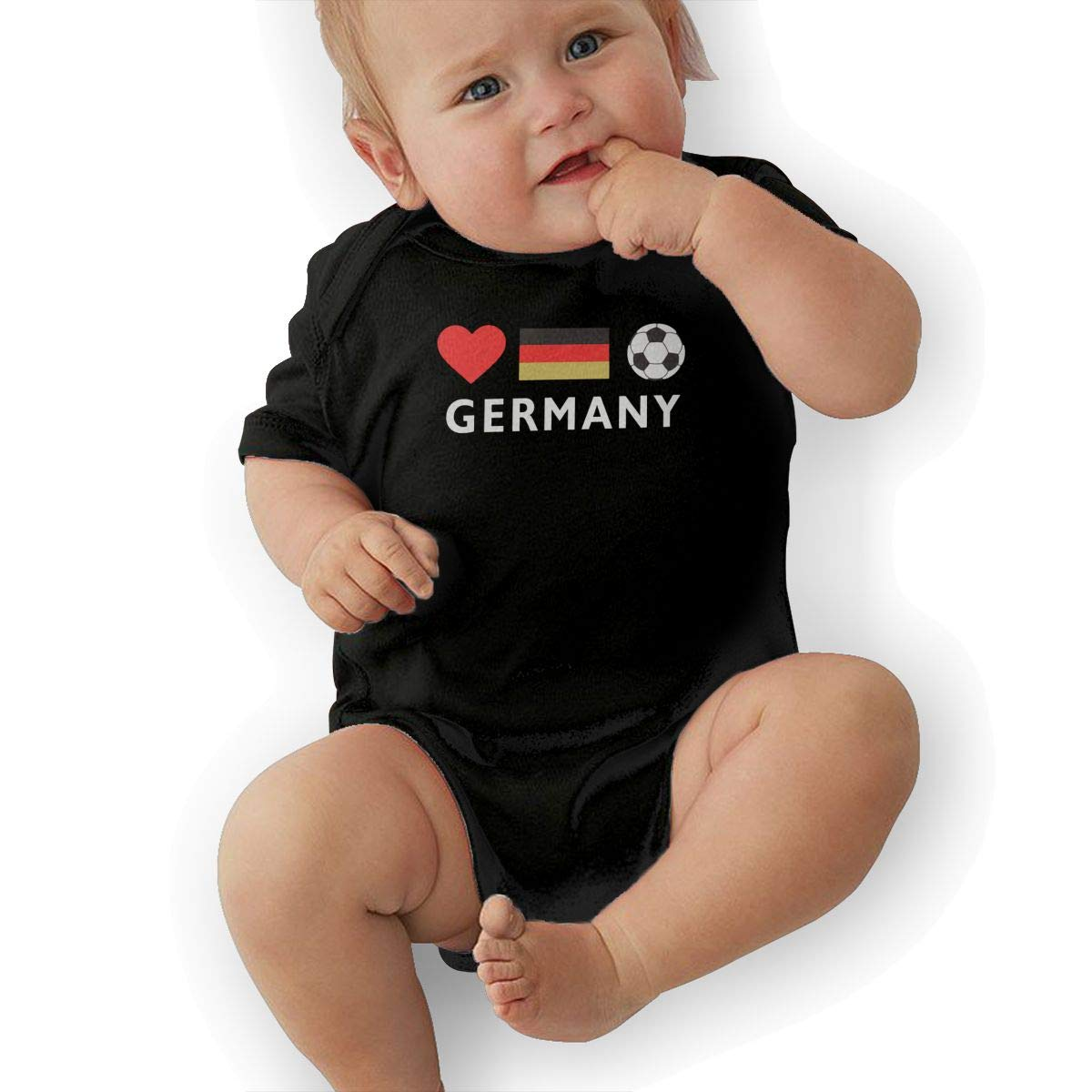 U88oi-8 Short Sleeve Cotton Rompers for Baby Girls Boys Cute Germany Football German Soccer Jumpsuit