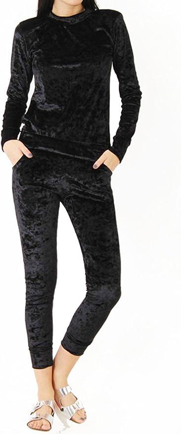 Womens Crushed Velvet Lounge Suit Sweatshirt Pant Lounge Wear Ladies Tracksuit