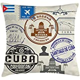 Wecye Throw Pillow Cushion Cover, Travel Concept Passport Stamp Design of Cuban Cities and Landmarks, Decorative Square Accent Pillow Case, 18 X 18 Inches, Cobalt Blue Grey and Dimgrey