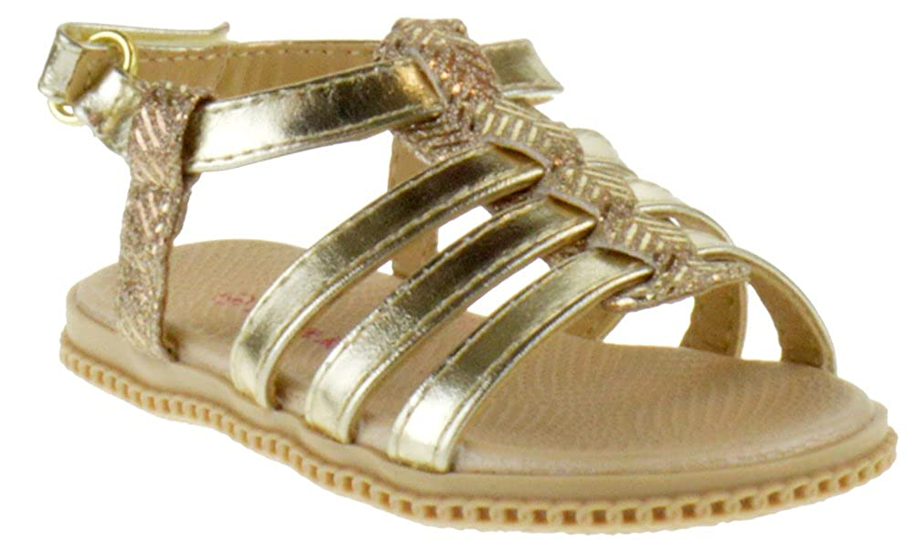 Link Holy 34KA Toddler Braided Caged Gladiator Glitter Sandals