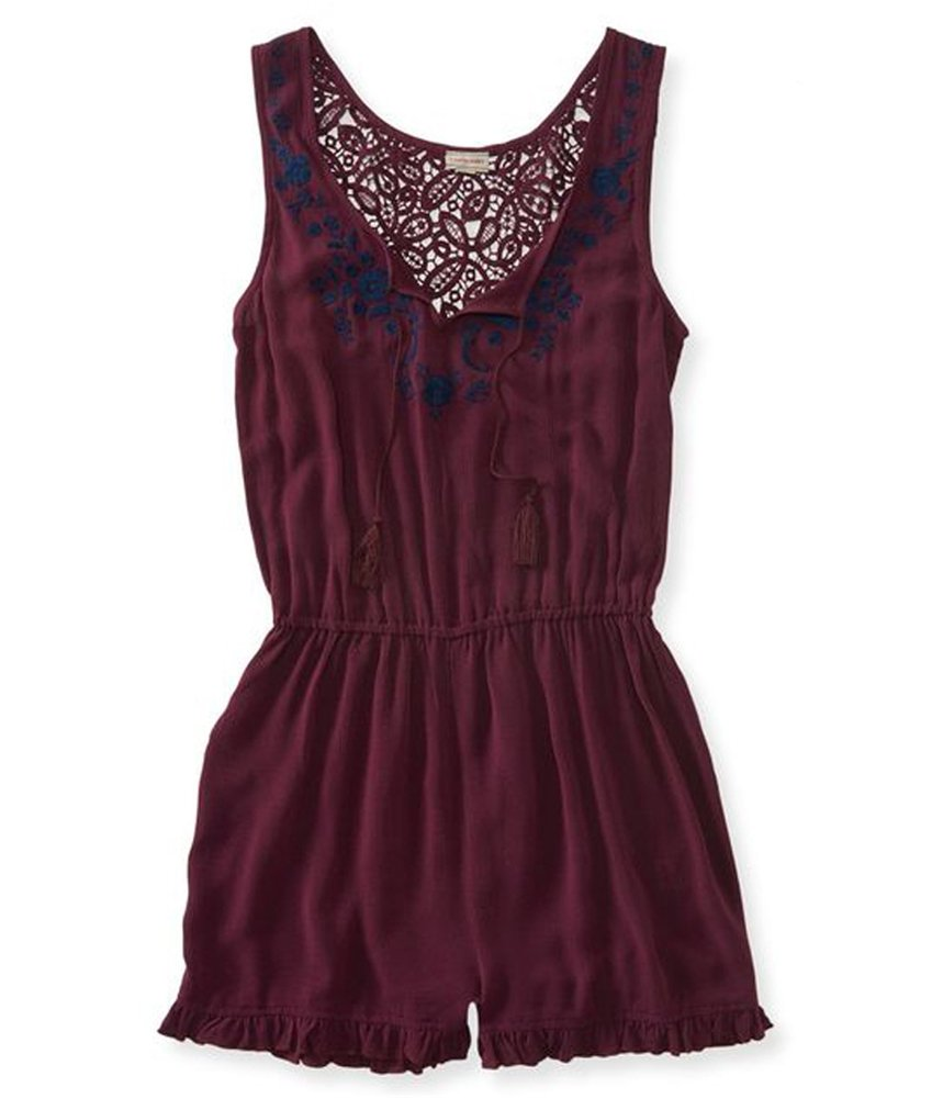 Aeropostale Womens Lace Romper Jumpsuit Red XS - Juniors