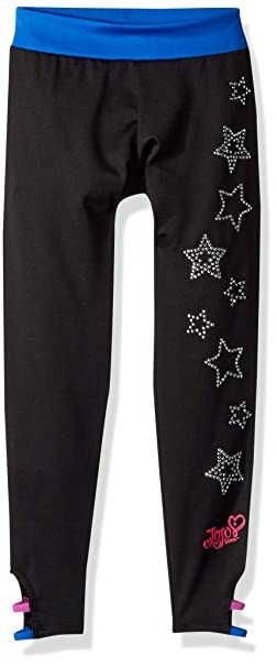 94990b7665cacc Jojo Siwa By Danskin Girls' Big Iridescent Sparkle Capri, Black Stars, X-
