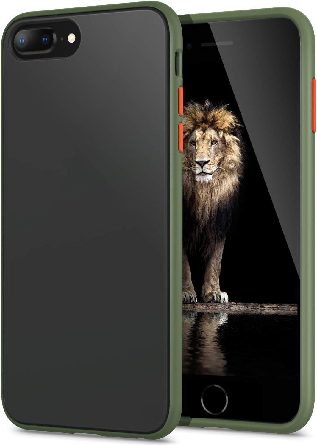 YATWIN Funda para iPhone 8 Plus, Funda iPhone 7 Plus Transparente Mate Case, [Shockproof Style] TPU Bumper Rubber y Botones Coloridos, Carcasa Protectora para Funda iPhone 7/8 Plus - Verde Noche