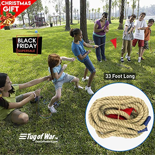 EASYGO 33 Foot TUG of WAR Rope with Flag ? Kids and Adults Family Game ? Team Building ? Soft Rope - Professional Long Lasting - Extra Thick for Easier GRIPPING