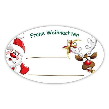 Frohe Weihnachten Aufkleber.Weihnachtsaufkleber Weihnachtssticker Frohe Weihnachten Weihnachtsmann Mit Rentier Oval 60 X 35 Mm 100 Stück Auf Rolle Haftpapier Glänzend