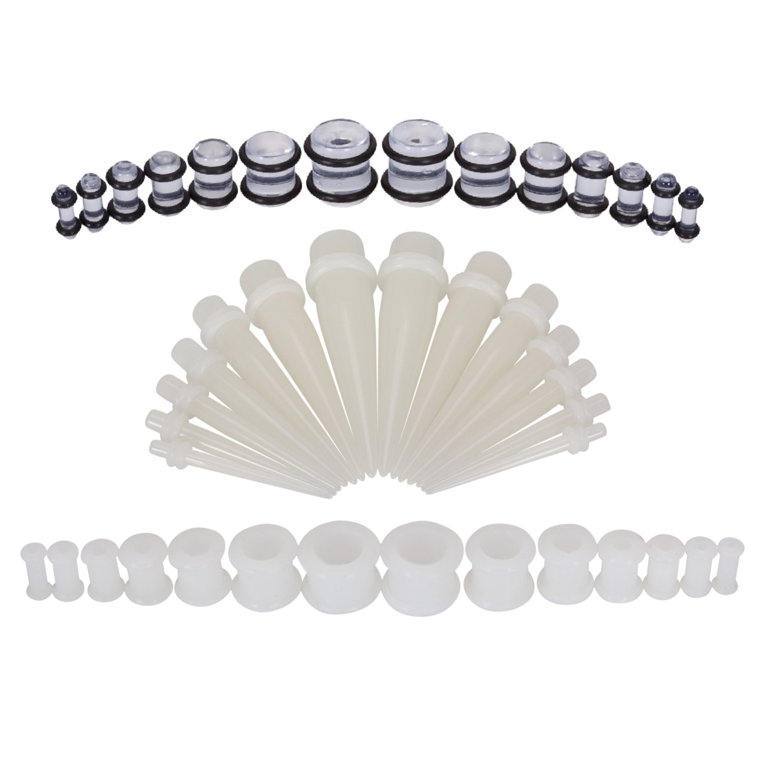 BodyJ4You 42PC Gauges Kit Ear Stretching 8G-12mm Tapers Plugs White Silicone Glow Dark Acrylic by BodyJ4You