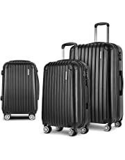Wanderlite Carry On Luggage 3 Prices Luggage Set Lightweight Suitcase Travel Hard Case-Black