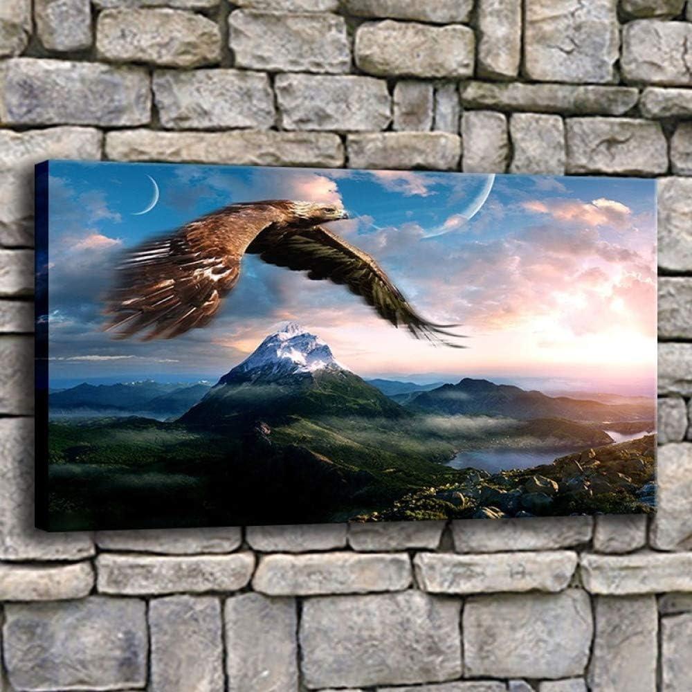 NIMCG Impresiones de la Lona Cartel Sala de Estar Decoración del hogar Águila Volando en el Cielo sobre Las montañas Pintura Paisaje Imágenes Pop Arte de la Pared 50x70CM (Sin Marco): Amazon.es: